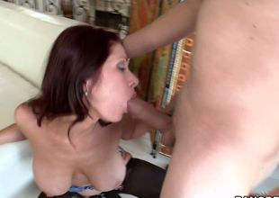 The perverted guy goes crazy from this passionate redhead milf Tiffany Mynx big boobs and big ass and this chab doesnt lose a minute to ravish her hungry and crazy mouth