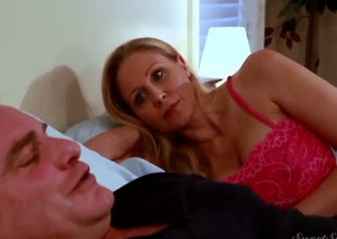 Evan Stone and mature, but hawt blonde Julia Ann laying in the bed before sleep! But they need to relax every other by hot fucking action before sweet sleep.