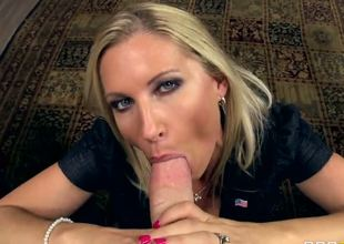 Gorgeous milf with alluring blue eyes always licks his dick before deepthroating his massive trunk in full, but she implicitly requires a powerful pussy licking after her job.