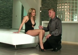 Ana Monte Real is a gorgeous babe with a super hot body and incredible legs. She also has feet that are too hot for this guy who has to suck on them before fucking this luscious milf babe.