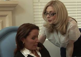 The luxurious big titted milfs Nina Hartley and Rachel Steele demonstrate the erotic lingerie that they wear underneath cloths and then have the hot lesbo fun together