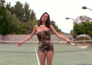 Its vulva spelled backwards and thats why we know were going to get a sexy and wet time with Milf star Veronica Avluv as she comes in from her tennis game and cums.