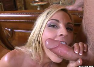 This sex crazed blond mom Sindy Lange was spotted by her neighbor while she was masturbating in her pool chair. When he helped this MILF to get off, she thanked him with a deepthroat blowjob.