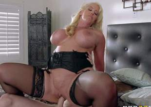 Alura Jenson is a horny as hell mom with massive jugs who cant miss her chance to takes fat dick of her just married daughters hubby in her dripping moist pink pussy. She rides his rod just like crazy!