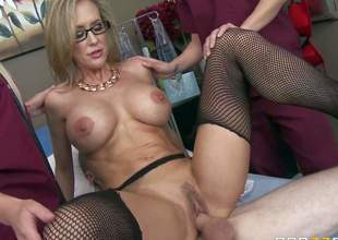 Busty milf doctor Brandi Love takes patients sturdy cock in her pussy in front of 2 curious nurses. She gets her snatch fucked silly a diversity of sex positions before he gets enough. Watch lady doctor Brandi Love fuck the cum out of cock