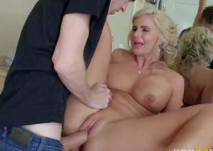 Curvy milf Phoenix Marie with big tits and big round ass is his dads new wife. He finds her sexy and she doesnt mind taking his thick hard dick in her shaved pussy and in her asshole! See step-mom get nailed