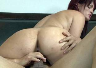 Gi Jen is a fuck hungry redhead milf. She sucks males beefy rod and then gets her moist needy pussy pounded. She takes his throbbing dick up her fuck aperture in the middle of a king size bed