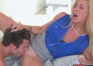 Blonde MILF Cherie Deville is a sex starved woman that has a great time doing it with her stepdaughters boyfriend Seth Gamble. She sucks his young hard dick and then gets her many times used needy pussy licked