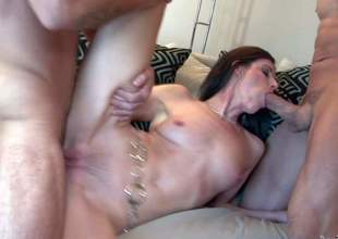 India Summer is s sex starved mommy with pretty small natural tits and long legs. She receives her mouth and vagina drilled at the same time during this great fuck session. Watch India Summer get double used