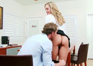 Brandi is a sexy golden-haired cougar bitch with massive boobs. Her young and handsome employee Ryan is slacking off, so she decides to give him a lesson and fucks him hard.