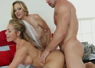 Julia ann and her naughty stepdaughter get to share this giant cock. Both of them want their dirty cunts to get ravished and fucked deep with this erective penis.