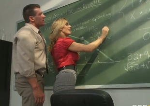 Awesome blonde milf pornstar Tanya Tate with a big and very tasty boobs seduces her student in the classroom. This hot whore gets licked on a table and with a pleasure sucks a cock.