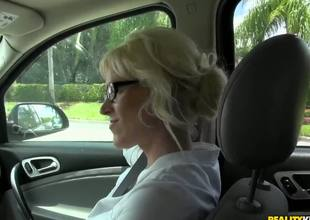 This milf is just awesome, because she likes to fuck with strangers. Moreover, she's fond of doing it on camera and today she's fucking for us. Just take a look how she sucks