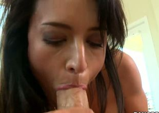 Sit right back and keep your eyes on the screen 'cuz Franceska Jaimes is worth watching every second of this video closely! This gorgeous milf is a real talent for cock sucking!