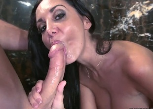 Big boobed mom Ava Addams makes guy cum in the shower