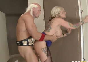 Earthmoving fuck with busty MILF Kate Frost and hot chap Johnny Sins