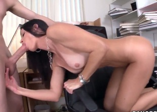Seductive MILF India Summer munches on a biggest boner before receiving it down her dripping soaked twat