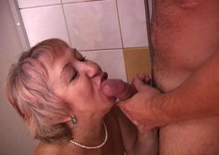 Sexy Grandma Shower Having Fun With Young Weenie