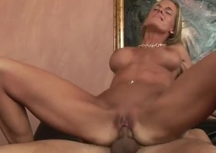 Skinny milf with incredible fake tits fucked hardcore