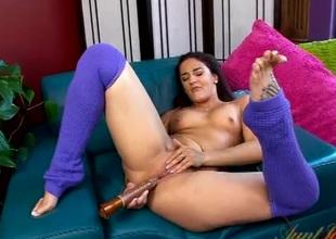 Great orgasm for a cute masturbating milf