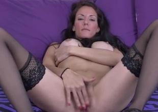 Ideal tight milf in stockings and heels masturbates