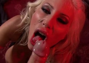 European Golden-haired Puma Swede Sucks Huge Cock!
