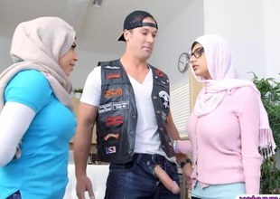 Two busty Arab women acquire pussy ucked by a biker dude