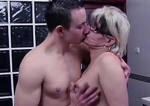 Grey Haired Stepmom Copulates Her Bathroom Jerking Stepson