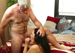 Paisley Parker gags on the dick of her stepdaddy and her grand step daddy