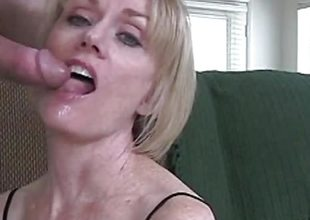 Blonde amateur showered with cum