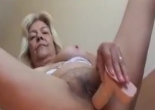 Blonde Old Lady With Nice Tits Fucks A Rubber Dildo Clip
