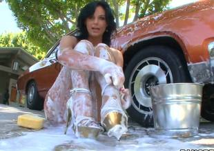 Watching hot milf Phoenix Marie covered head to toe in foam after washing her car is gonna make you grow an instant boner, but things get even better when she receives ass drilled!