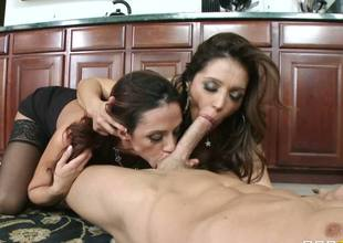 Horny milfs Francesca Le Ariella Ferrera try out a new dildo they bought, but no plastic can substitute a real cock. Luckily, theres Johnny Sins, always ready to fuck them senseless!
