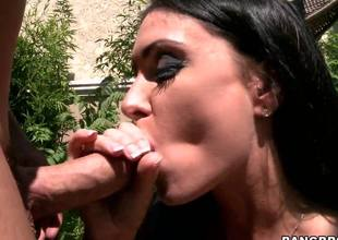 One quick glance at Jessica Jaymes body and you know this milf is dying for a hard pounding! She cant let go of the guys cock, blowing him outdoors until he finally drags her inside!
