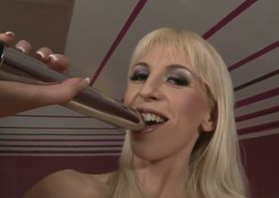 Blonde long haired milf Alexa Wild takes off her clothes to show her unforgettable, skinny body, than she takes her favorite metallic dildo and self penetrates her asshole.
