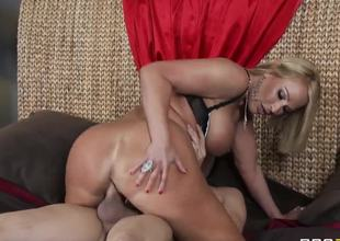 Turned on cock hungry golden-haired milf Mellanie Monroe with big juicy ass and massive hooters gives fantastic blowjob to handsome Xander Corvus and rides on his stiff dick i bedroom