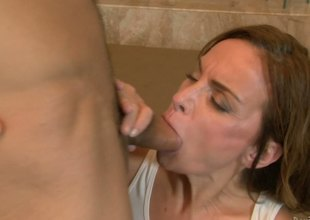 The mature woman Rebecca Bardoux is shameless and passionate enough to plunge into the dirty fuck action with young dude whose stiff cock pounds her mouth and wet crack