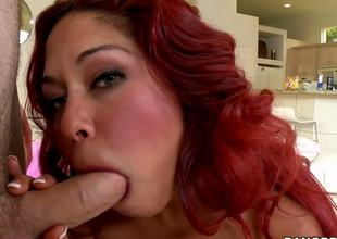 The horny redhead milf Helen Cielo is doing everything possible to please the rock hard piston of the younger guy and she is pleasing him with oral and hardcore fucking
