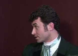 Experienced dirty pornstar James Deen enjoys treating rough darksome haired slits Elexis Monroe and Magdalene St. Michaels in Victorian outfits in provocative softcore scene
