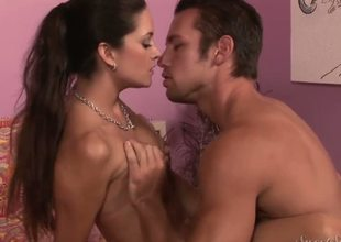 Attractive turned on pornstar Johnny Castle with steaming sexy muscled body gets seduced by long haired brunette milf Stephanie Swift with natural boobs in sexy dress and high heels