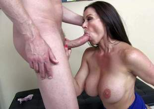 Massive titted brunette milf Kendra Lust is his wifes friend. And shes unthinkably sexy in her blue dress and high heels. She shows her tatas to curious guy and then gets her beautifully trimmed pussy stuffed