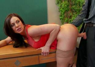 Long haired brunette Kendra Lust with sexy large boobs is a charming woman that seduces her co-workers and takes his love bone in her needy pussy. Watch passionate milf gets slammed on her office desk