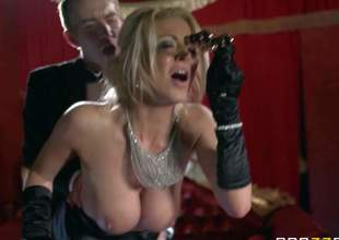 Milf Tia Layne finds opera boring and kills time fucking with Danny D. Elegant big racked blond in lengthy black gloves sucks hard dick and then gets her tight wet fuck gap stuffed