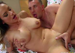 Nadia Styles is one sexy milf with big tits and clean pussy that doesnt mind getting screwed by handsome shy guy Keiran Lee. She seduces him with ease and enjoys his throbbing dick in her vagina