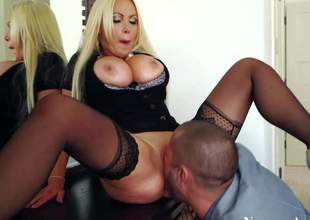 Nikki Benz is his wifes smoking hawt friend. Blond with massive melons turns him on. Elegant woman in black gets her massive hooters banged before this babe gets her wet pink pussy pounded