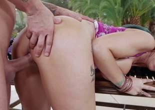 Syren De Mer is his friends sexy mom that shows her love for fucking by the pool. Gorgeous milf in shoes pulls out her huge melons and then gets her snatch fucked deep. She takes young hard dick eagerly