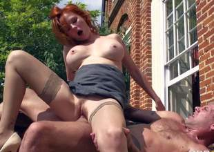 Tara White is a gorgeous european MILF with red ahir, big boobs and long stocking-clad legs. She gets her fuck hole pumped full of cock in the sun. See well-endowed stunning mommy get shagged outdoors