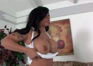 Black haired cougar Mason Moore with breathtaking firm balloons and colorful arm tattoo gets her twat licked by her slim lover and takes on his stiff strong pecker in living room