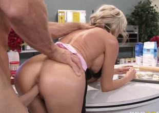 Milfy blonde Sindy Lange with fake boobs and hot ass acquires her pretty tight pussy drilled by beefy hard dick from behind in the kitchen during the time that cooking. She acquires sexually used wit no mercy.