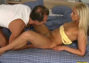 Blond Candy Love gets turned on before she takes George Uhls snake in her eager mouth
